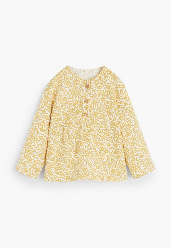 рубашка mango kids для девочки, желтая