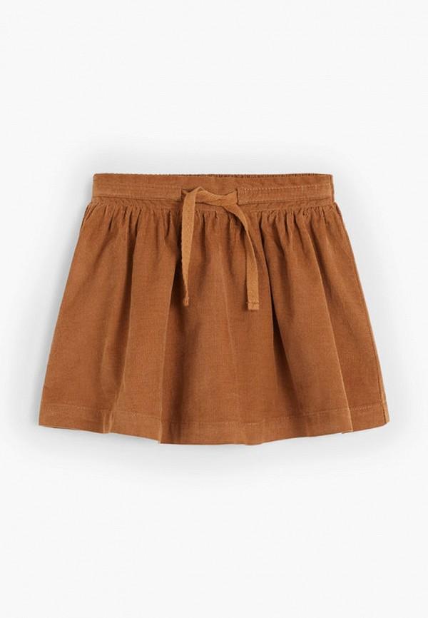 юбка mango kids для девочки, коричневая
