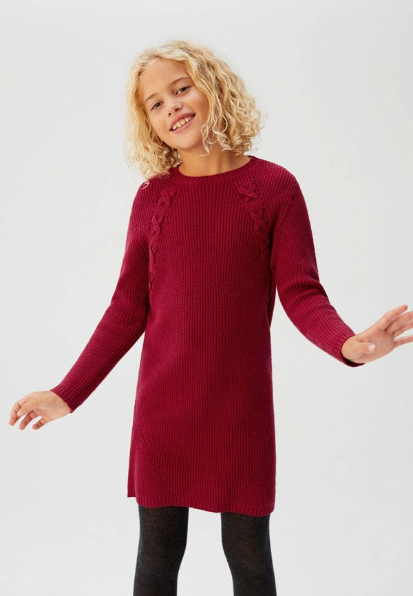 Фото 3 - Платье Mango Kids бордового цвета