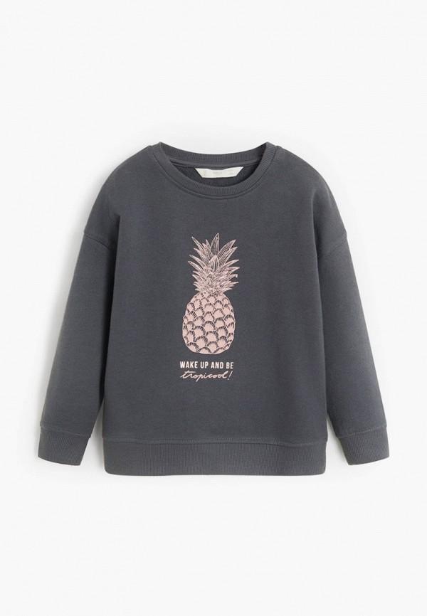 свитшот mango kids для девочки, серый