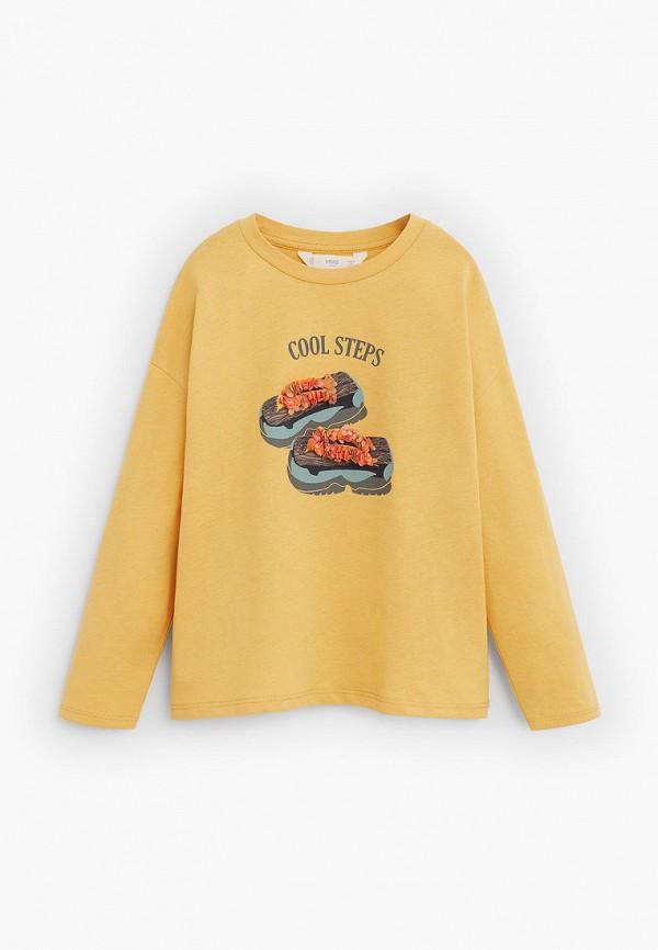 лонгслив mango kids для девочки, желтый