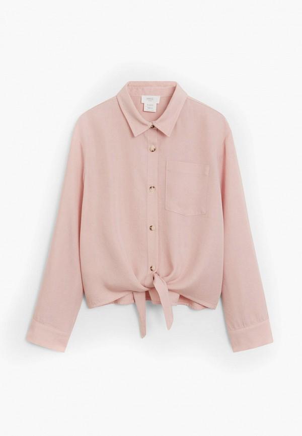 рубашка mango kids для девочки, розовая