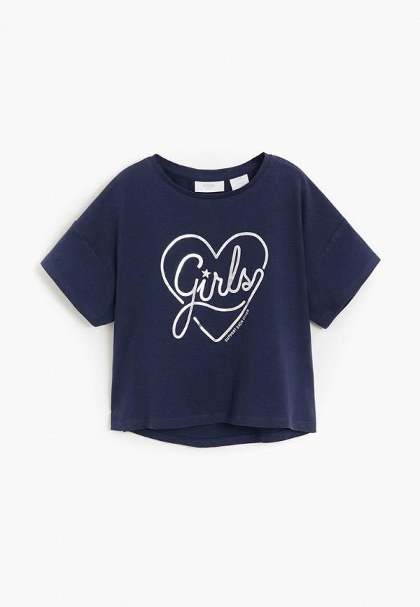 футболка с коротким рукавом mango kids для девочки, синяя