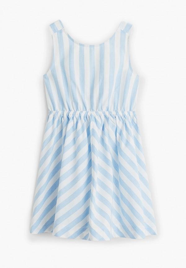повседневные платье mango kids для девочки, голубое