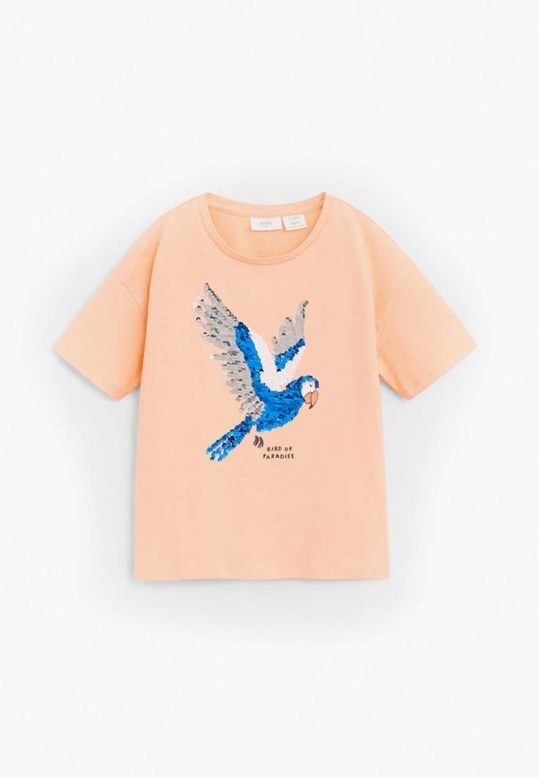 футболка с коротким рукавом mango kids для девочки, оранжевая