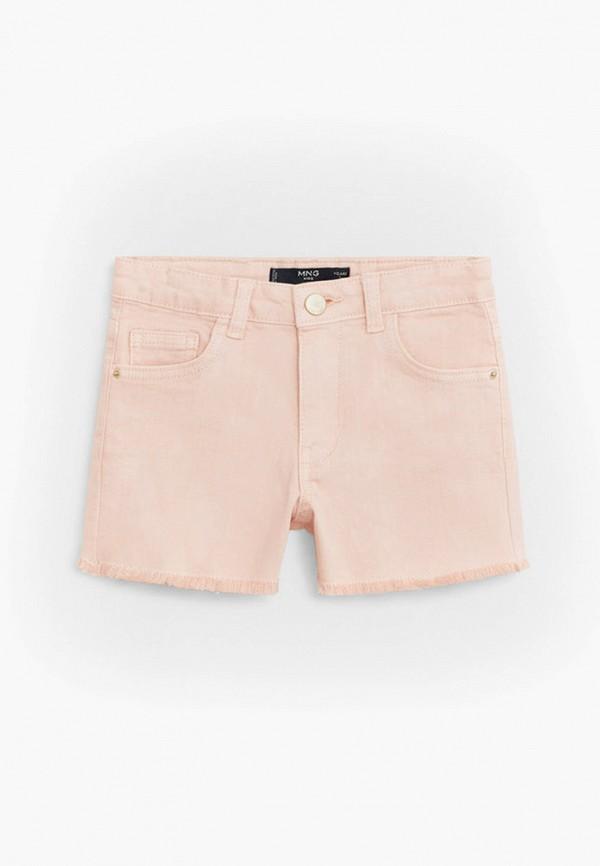 джинсовые шорты mango kids для девочки, розовые
