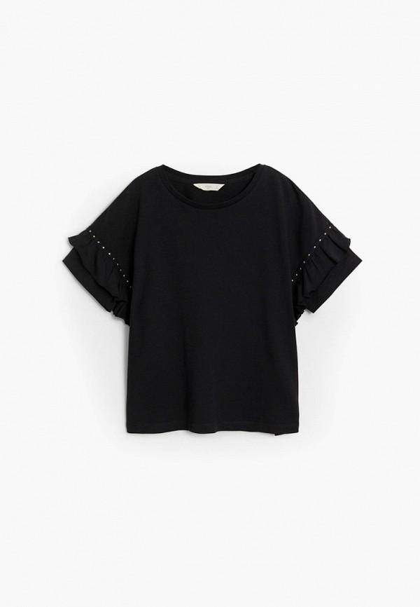 футболка с коротким рукавом mango kids для девочки, черная