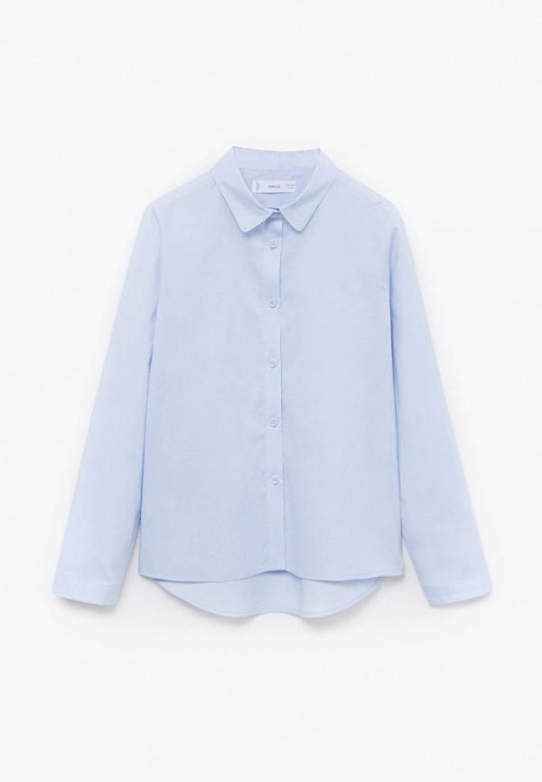 рубашка mango kids для девочки, голубая