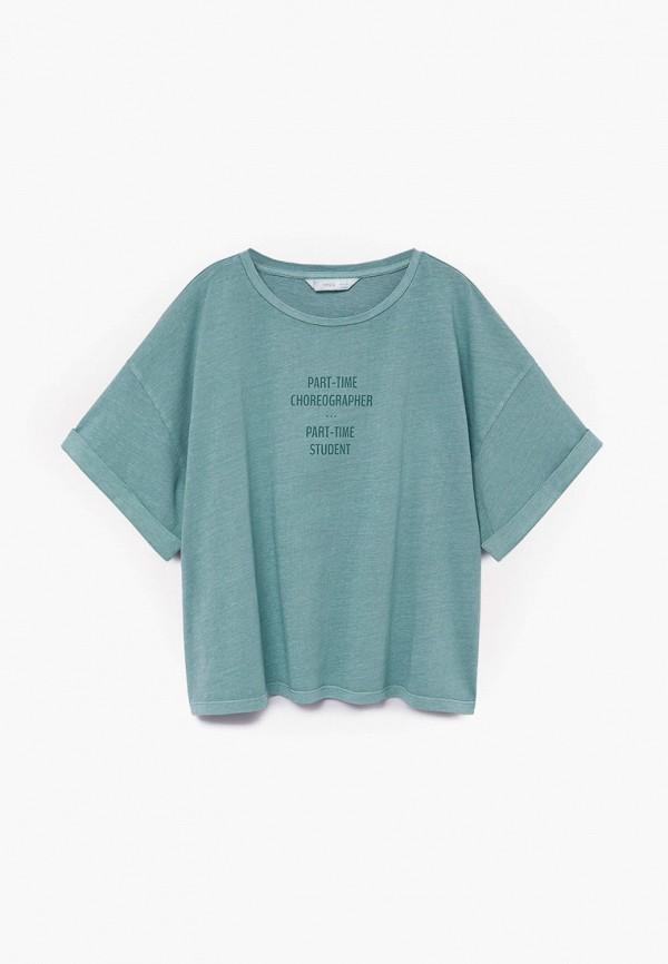 футболка с коротким рукавом mango kids для девочки, зеленая