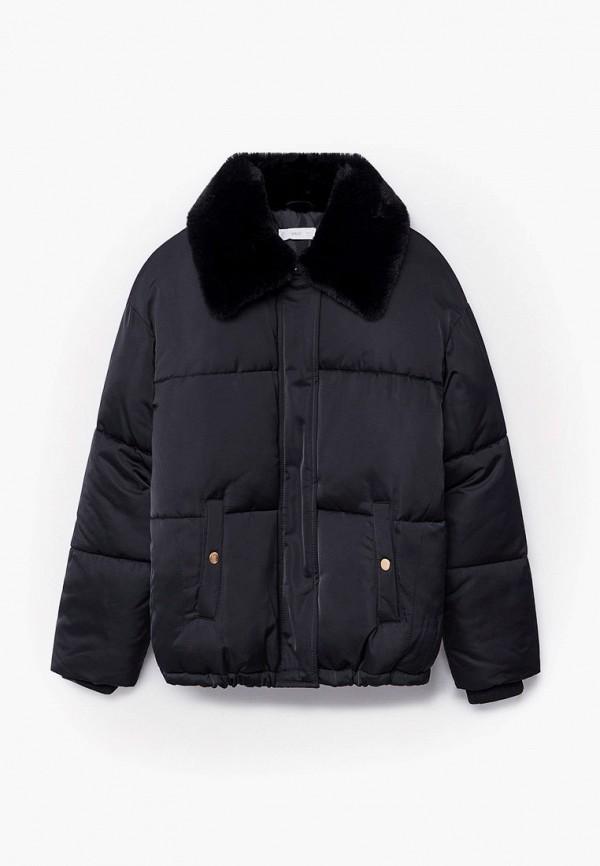 утепленные куртка mango kids для девочки, черная