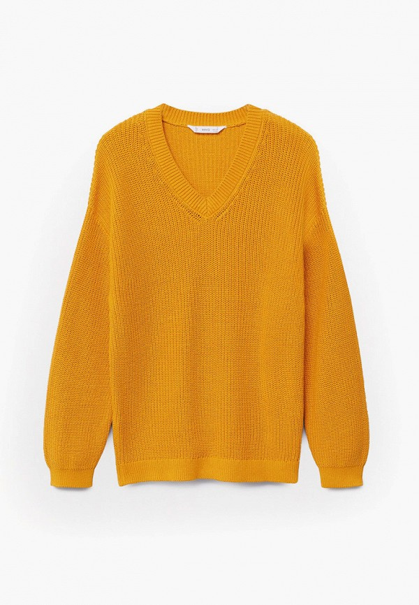 пуловер mango kids для девочки, желтый