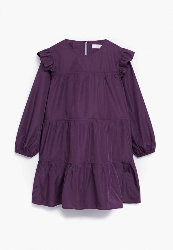 повседневные платье mango kids для девочки, фиолетовое