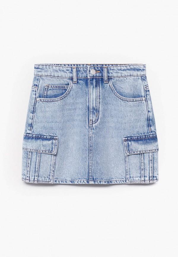 юбка mango kids для девочки, голубая