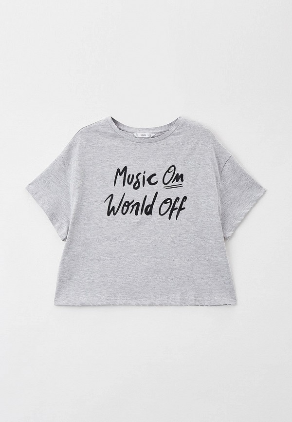 футболка с коротким рукавом mango kids для девочки, серая