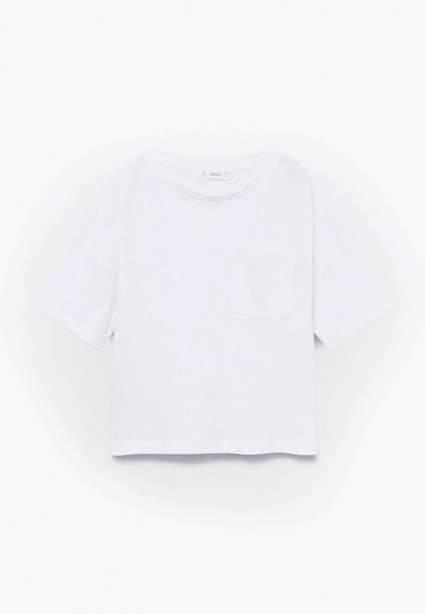 футболка с коротким рукавом mango kids для девочки, белая