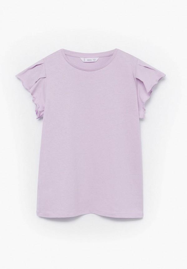 футболка с коротким рукавом mango kids для девочки, фиолетовая