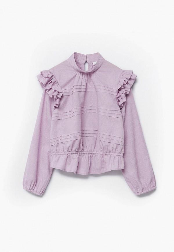 блузка mango kids для девочки, фиолетовая