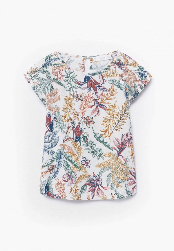 блузка mango kids для девочки, разноцветная