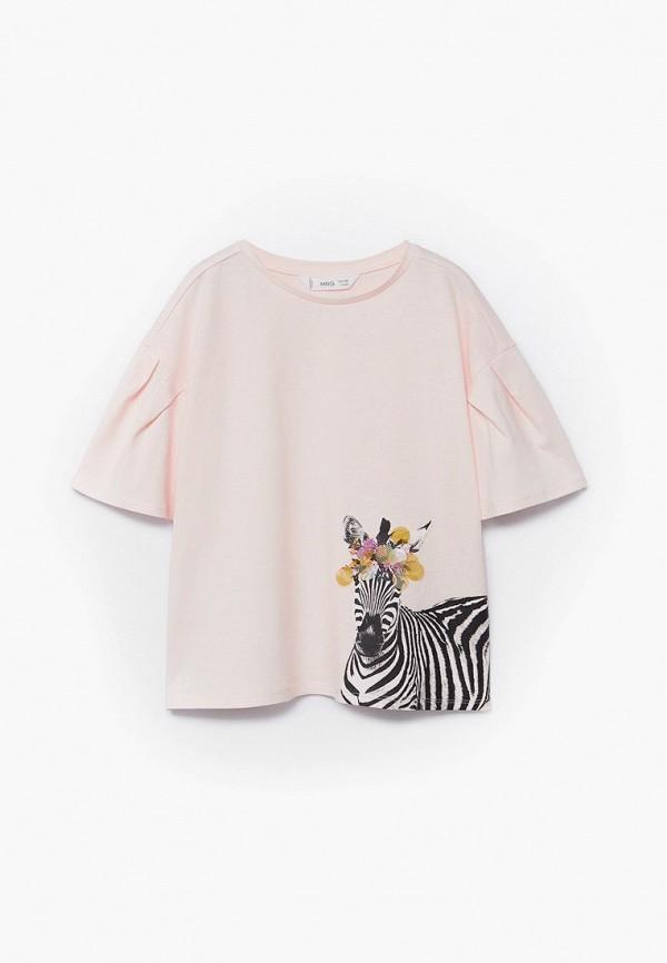 футболка с коротким рукавом mango kids для девочки, розовая