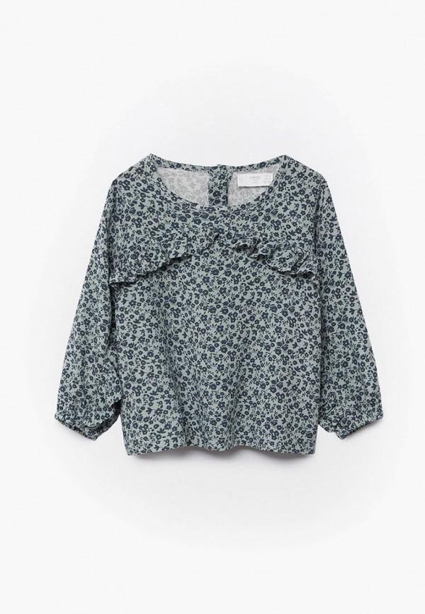 блузка mango kids для девочки, бирюзовая