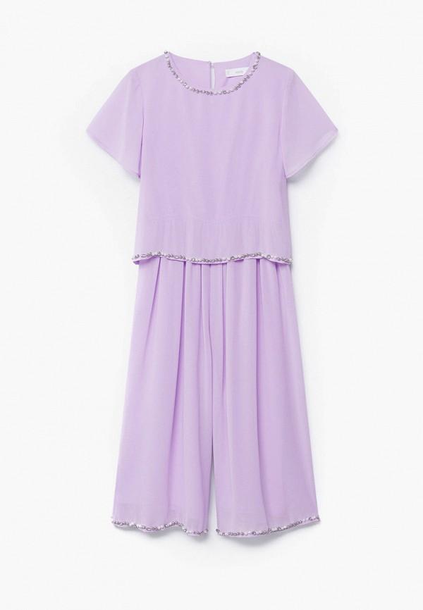 комбинезон с брюками mango kids для девочки, фиолетовый