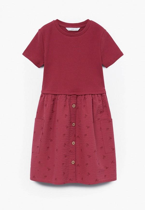 повседневные платье mango kids для девочки, бордовое