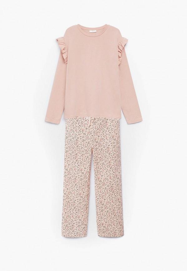 пижама mango kids для девочки, розовая