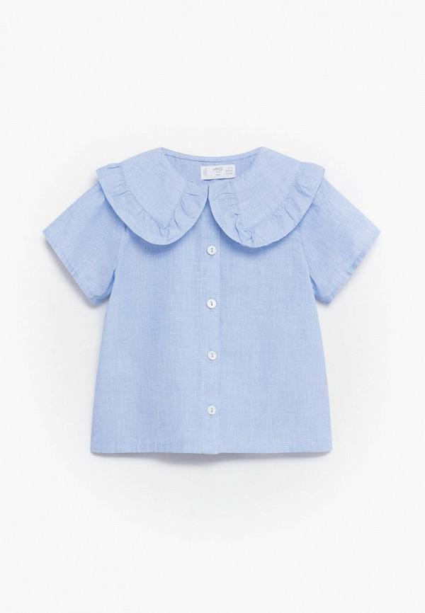 блузка mango kids для девочки, голубая