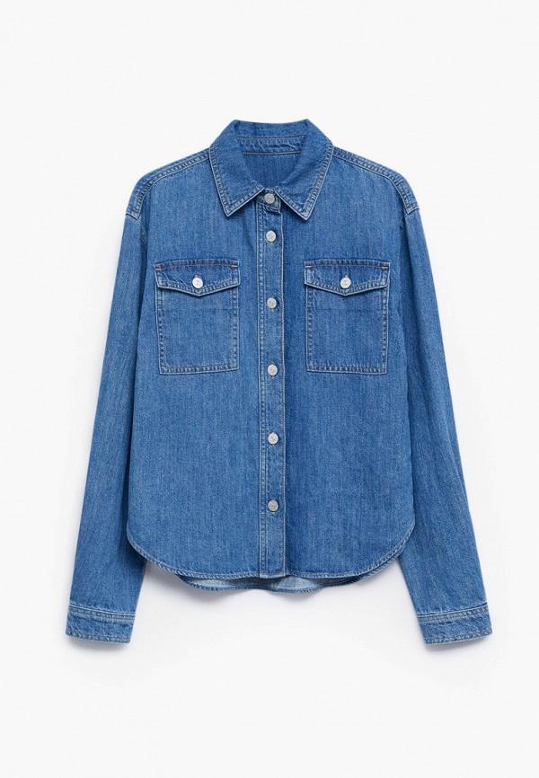 рубашка mango kids для девочки, синяя