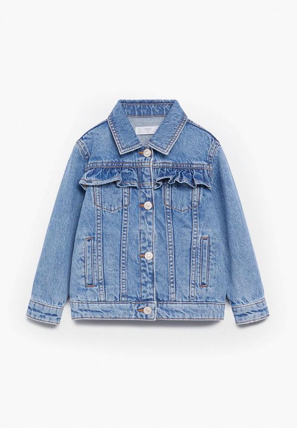 куртка mango kids для девочки, голубая