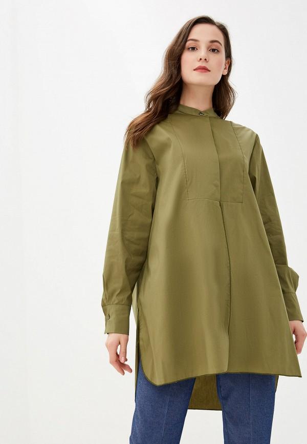 женская рубашка с длинным рукавом massimiliano bini, хаки