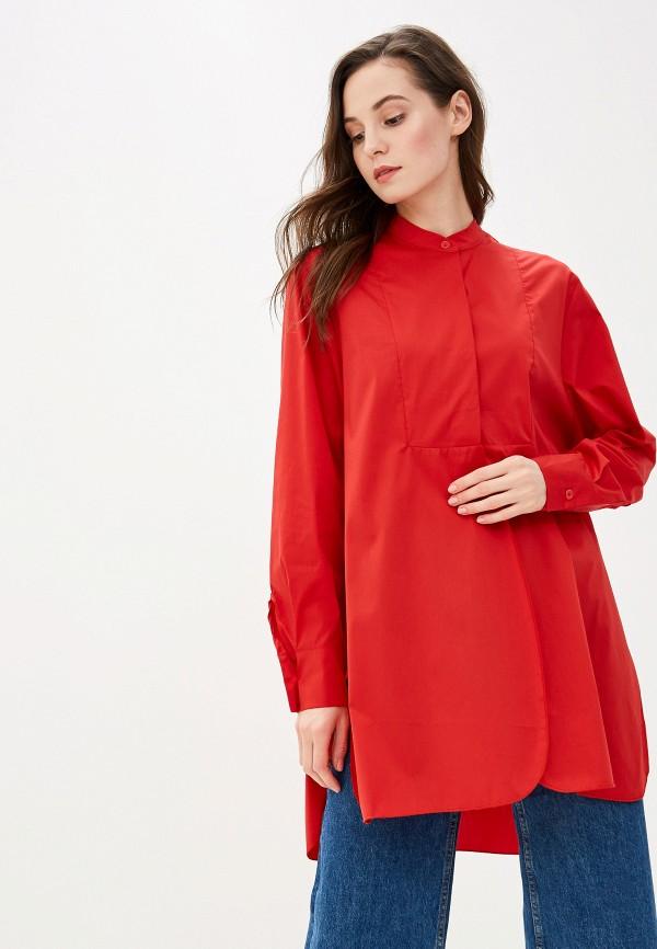 женская рубашка с длинным рукавом massimiliano bini, красная