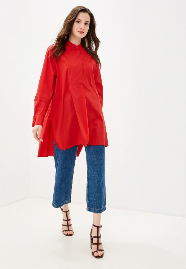 Фото 2 - женскую рубашку Massimiliano Bini красного цвета
