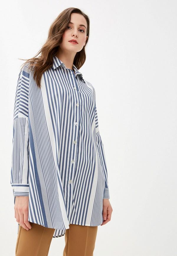 женская рубашка с длинным рукавом massimiliano bini, синяя