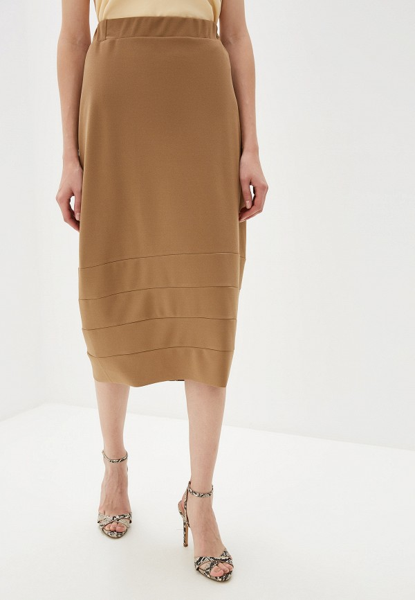 женская прямые юбка massimiliano bini, бежевая