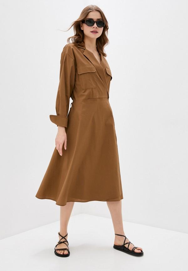 женское платье massimiliano bini, коричневое