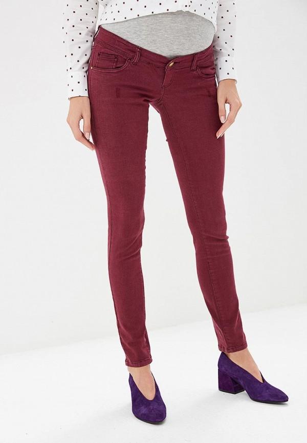 женские джинсы mamalicious, бордовые