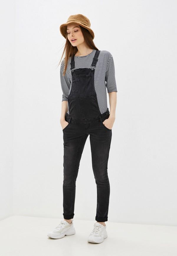 женский джинсовые комбинезон mamalicious, черный