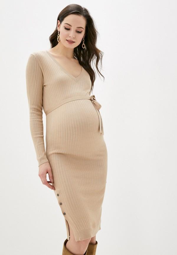 женское повседневные платье mamalicious, бежевое