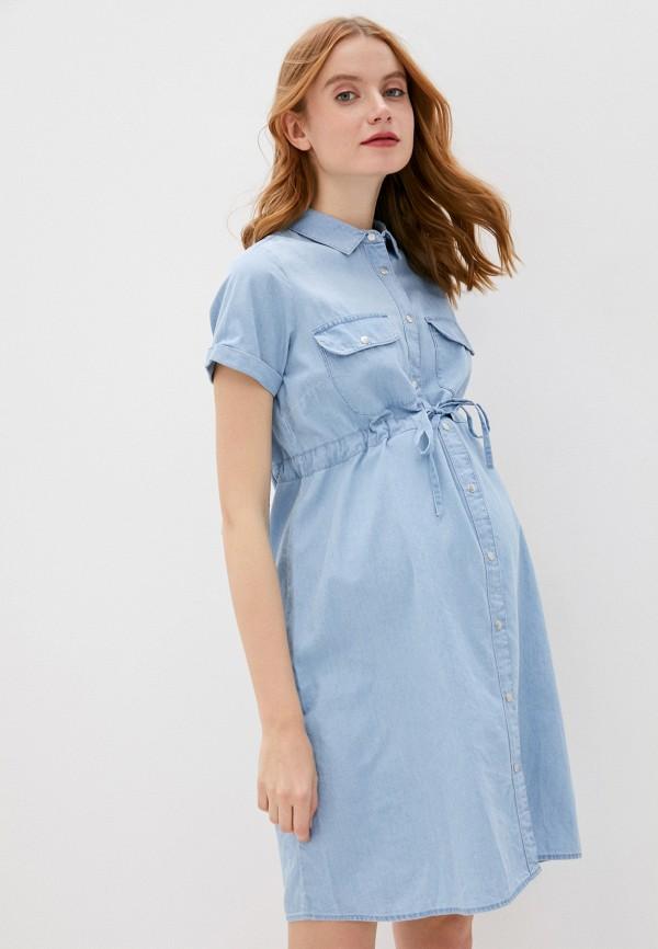 женское платье mamalicious, голубое