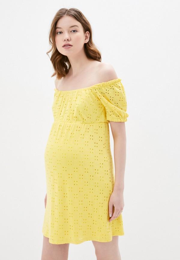женское платье mamalicious, желтое