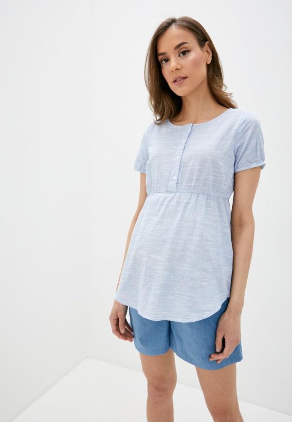 женская блузка mamalicious, голубая