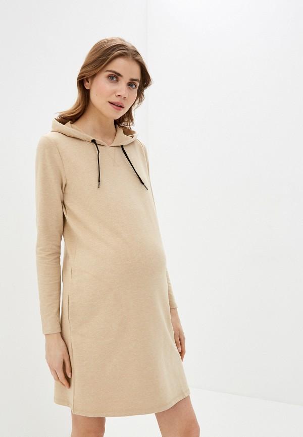женское платье mamalicious, бежевое