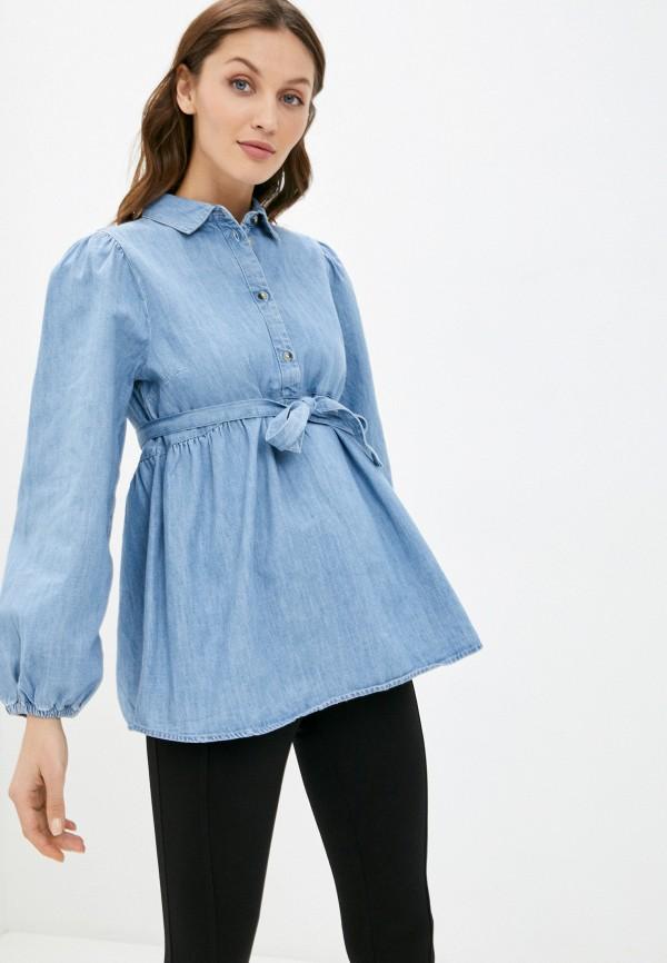 женская джинсовые рубашка mamalicious, голубая