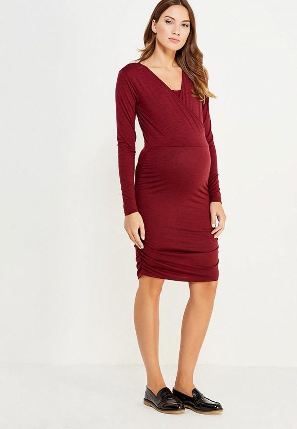 Фото 2 - женское платье Mamalicious бордового цвета