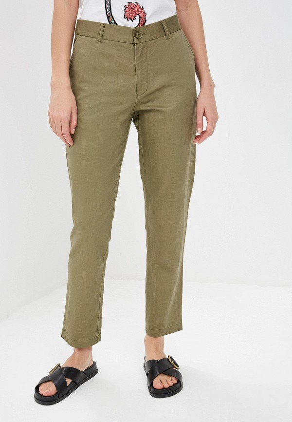женские повседневные брюки max&co, хаки