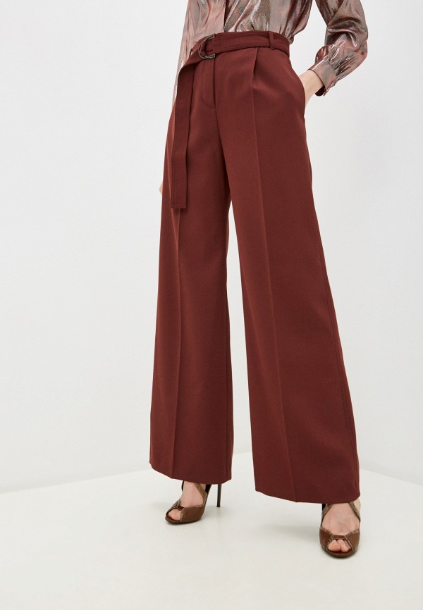 женские классические брюки max&co, бордовые