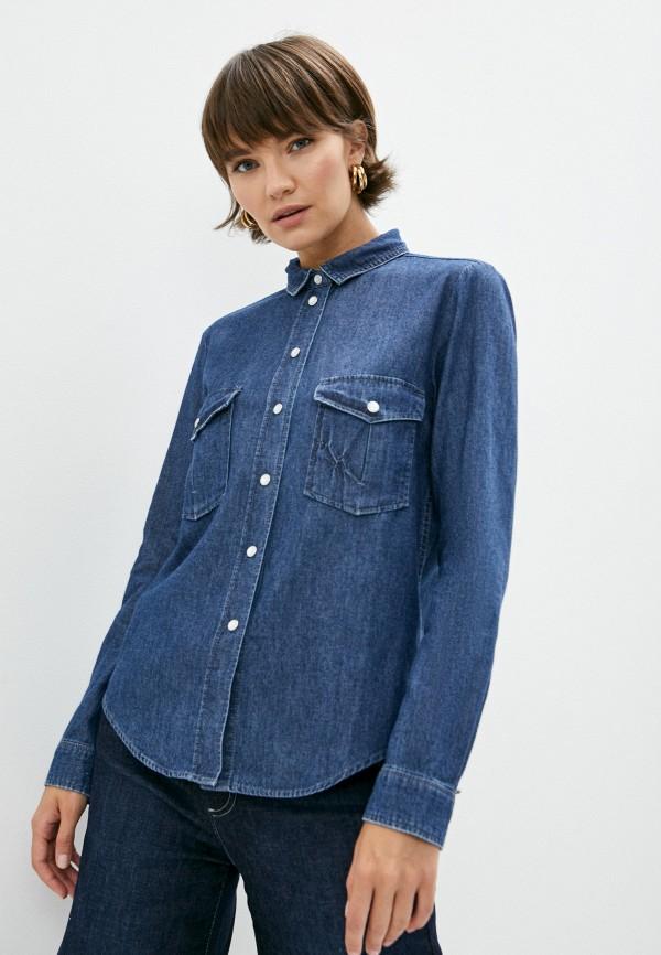 женская джинсовые рубашка max&co, синяя