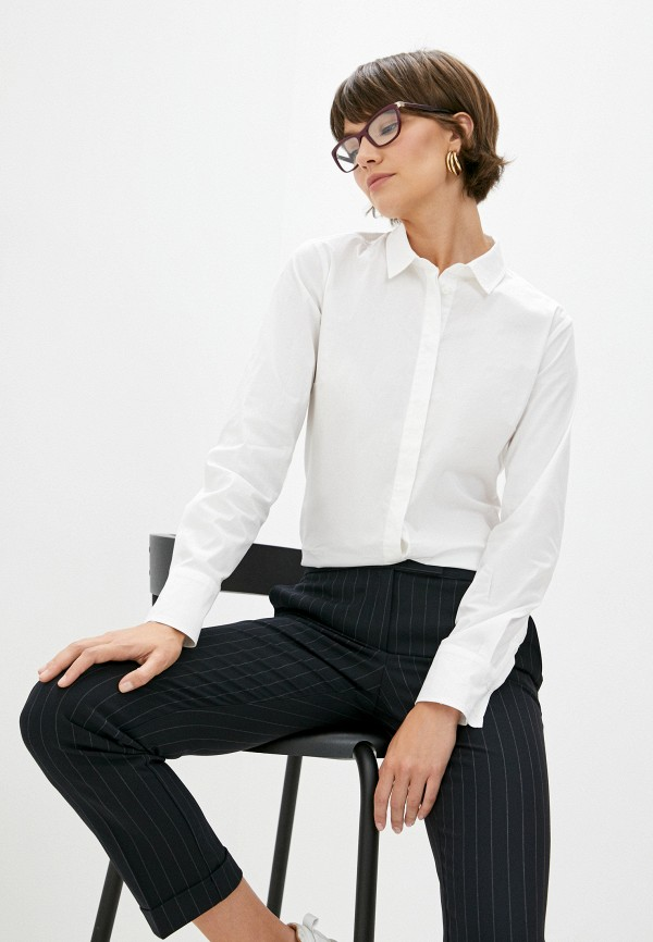 женская рубашка с длинным рукавом max&co, белая