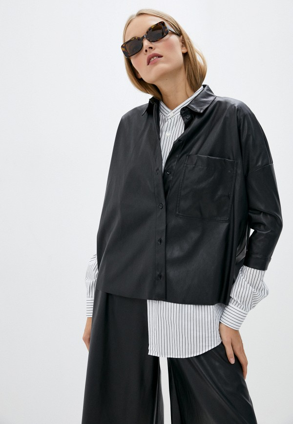 женская рубашка с длинным рукавом max&co, черная